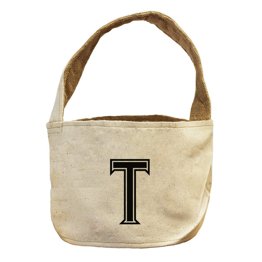 Style in Print T College Font Monogram Letter T Canvas and Burlap Storage Basket
