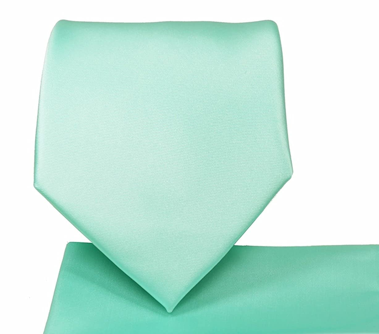 Solid 3.5 Wide Neck Tie & Matching Pocket Square Handkerchief Set