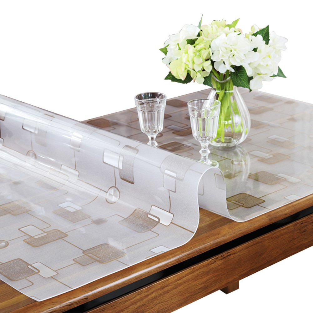 RUOYOU Anti-heiß Tischdecken,Wasserdicht Tisch-Abdeckung,PVC Tabelle Tuch Tuch Tuch Glas klar Kristall-Teller Transparent Tischsets Für Home Küche 1.5 mm-A 90x140cm(35x55inch) 93a846
