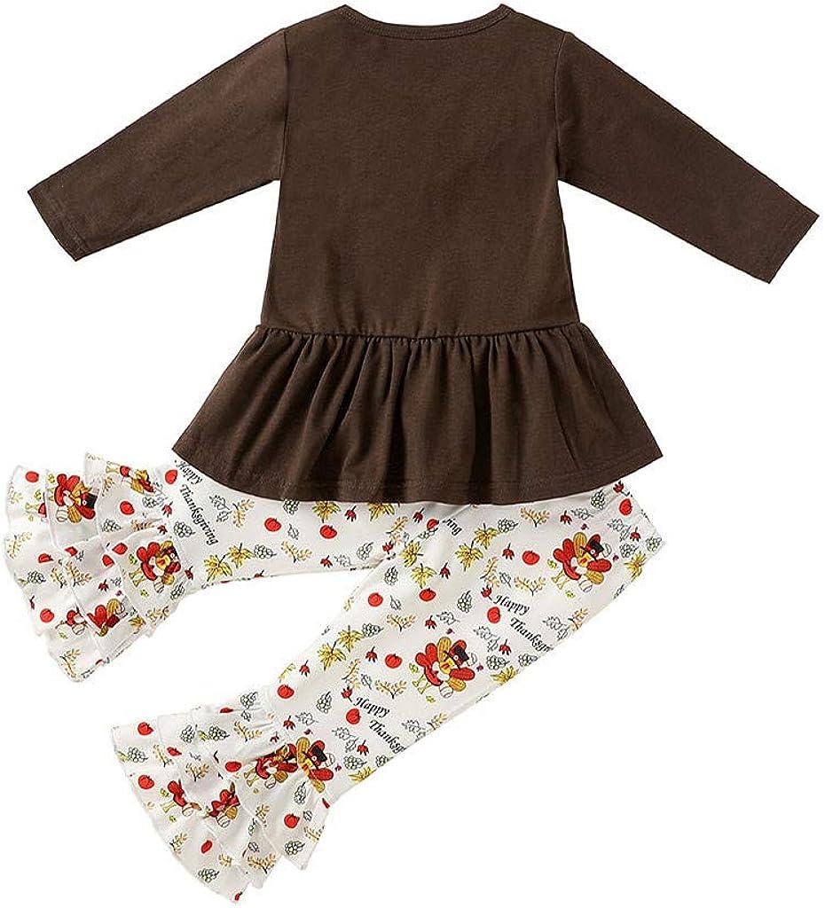 Toddler Kid Baby Girls Halloween Outfits Ruffled Long Sleeve 2-3T Orange+black