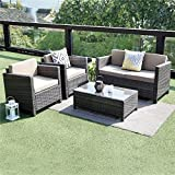 Wisteria Lane 5 Piece Outdoor Furniture Set,Patio Conversation Set Sectional Sofa All Weather Wicker Chair Loveseat Glass Table,Grey