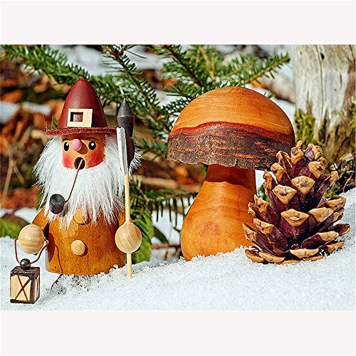 DIY Oil Painting by Numbers Kit Theme PBN Kit for Adults Girls Kids White Christmas Decor Decorations Gifts - Merry Christmas Pine Cone(with Frame) ()