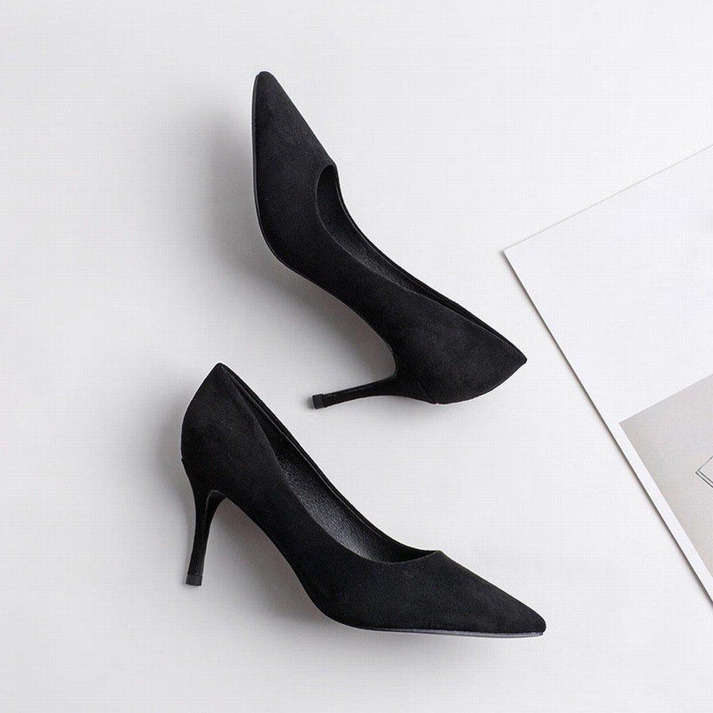 DHG Frau High Heel Spitze mit Feinen Feinen Feinen Wildleder Sexy Herbst Stöckelschuhe Huidong Schuhe High Heels Schuhe Ein 37 5c052c