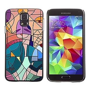 Caucho caso de Shell duro de la cubierta de accesorios de protección BY RAYDREAMMM - Samsung Galaxy S5 SM-G900 - Cubism Painting Teal Artist Pink Woman