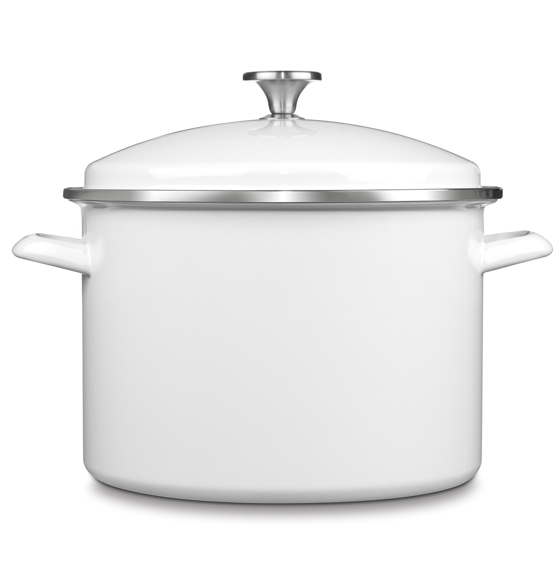 Cuisinart EOS106-28W Chef's Classic Enamel on Steel Stockpot with Cover, 10-Quart, White