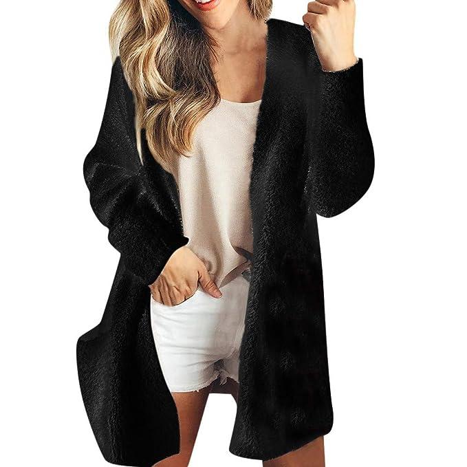 178dd9e258 Womens Fleece Cardigans Open Front Long Sleeve Winter Warm Waterfall Jackets  Coats Tops with Pockets Lightweight