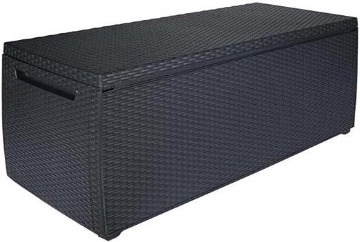 Baúl de almacenaje para el jardín (resina trenzada, colores gris antracita, 123 x 53,5 x 57 cm – pegane-: Amazon.es: Hogar