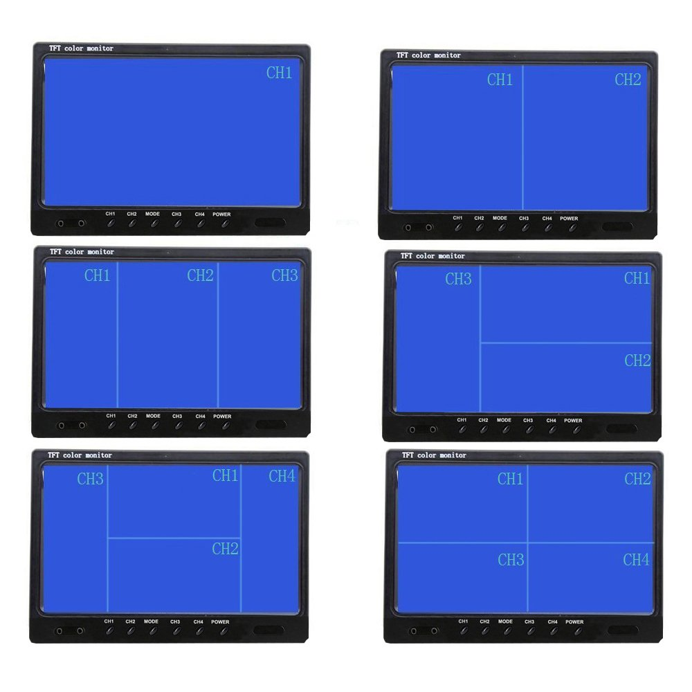 kit telecamera di retromarcia per veicoli 9 pollici impermeabile 9 m//20 m telecamera anteriore e posteriore Podofo visione notturna a infrarossi con cavo di aerazione a 4 pin 4 monitor divisi
