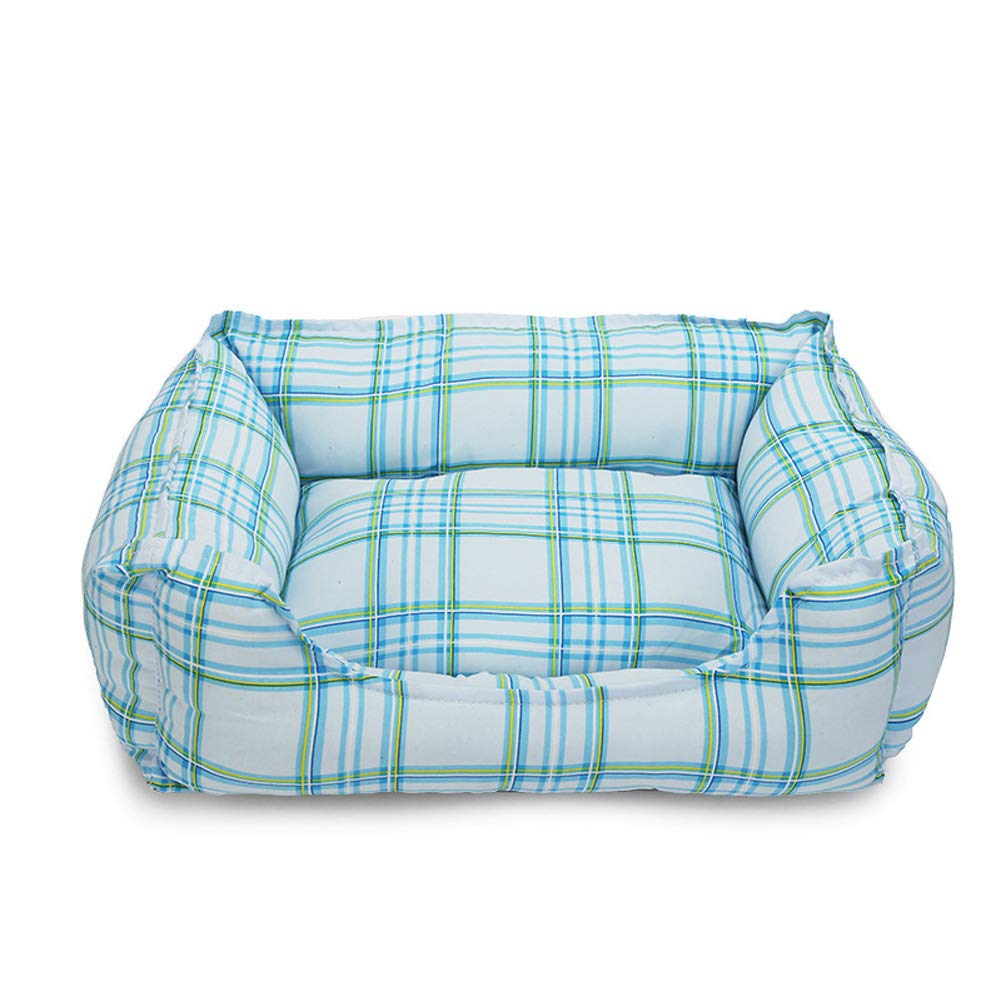 bluee 4050cm bluee 4050cm Pet Bed, Four Seasons pet Kennel cat Litter, Padded Pet Bolster Bed,bluee,40  50cm