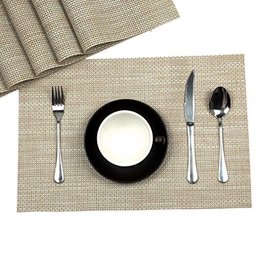 HiHome Cream White Placemats set Washable Placemats for Kitchen Dining Table Vinyl Placemats set of 6 pcs Cream (6, Cream)