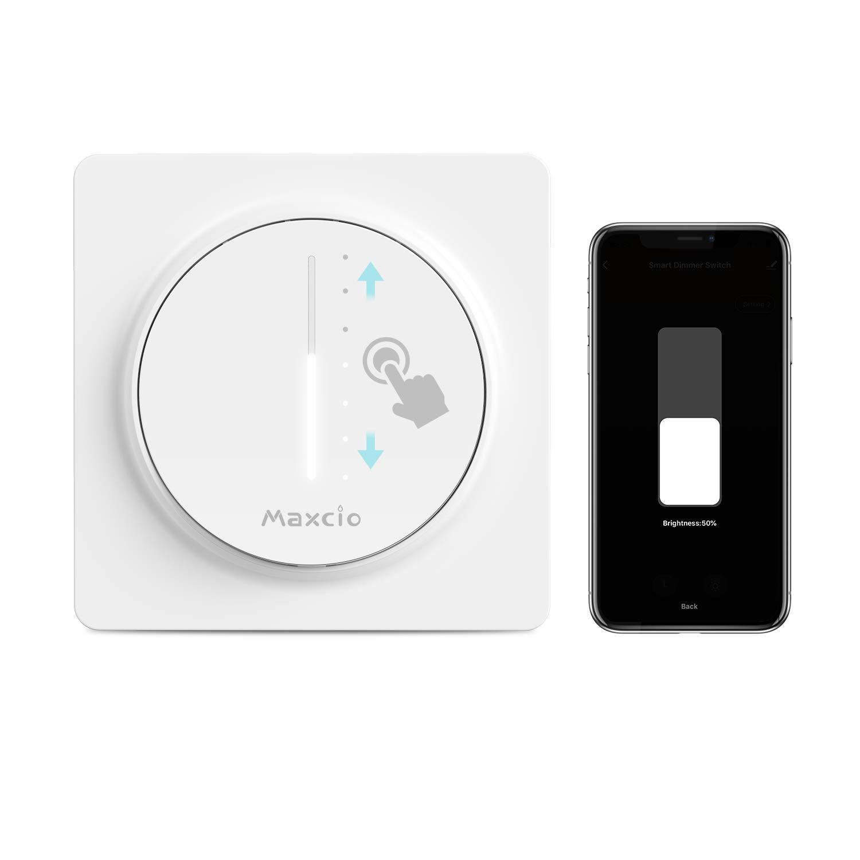 【Nuevo Tamaño】WiFi Interruptor Luz con Atenuador, Maxcio Regulador de Luz WiFi de Pared Táctil, Interruptor Wifi Dimmer Control de APP y Voz, con Temporizador, Trabaja con Alexa/Google Home