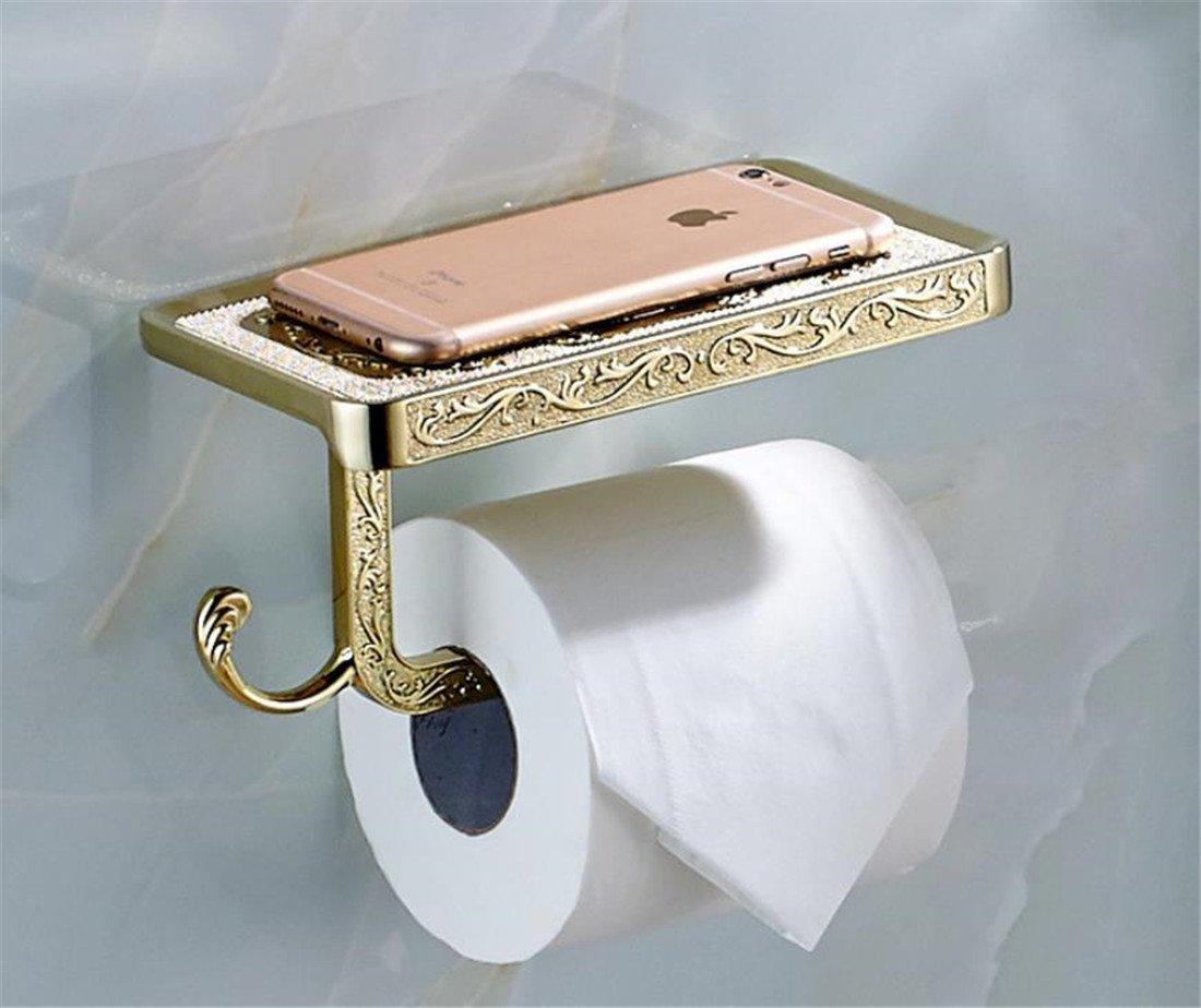 gold Fyore Toilet Paper Holder Storage SUS304 Stainless Steel Heavy Duty Drilling Bathroom Tissue Roll Holder with Phone Storage Shelf