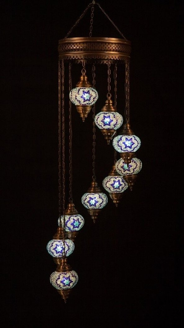 Mosaic Chandelier Set 9 Globe, Handmade Authentic Tiffany Lighting Moroccan Lamp Glass Stunning Bedside Night Lights Brass&Glass Ottoman Turkish Style