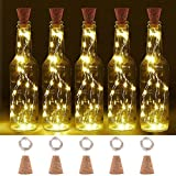 LOGUIDE Warm White Wine Bottle Lights Natural Cork Base, 6.56ft/20 LED Cork Lights 2 Hours Timer DIY Shape Copper Wire Light Fairy Starry String Lights - Dinner Table,Party,Wedding Decor(6 PCS)