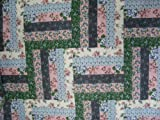 "Cheater Quilt Top,90"" x 108"", ""Log Cabin Rose Black"""
