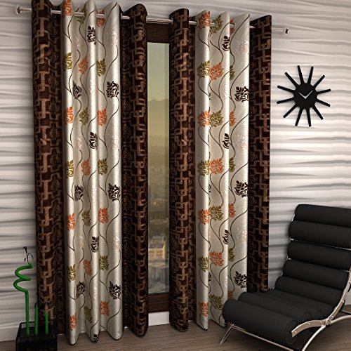 Home Sizzler Floral 2 Piece Eyelet Polyester Window Curtain Set - 5ft , Brown