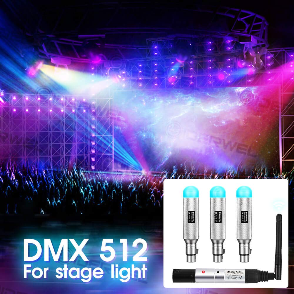 GIDERWEL 8pcs DMX512 DMX Dfi DJ 2.4G Wireless Receiver Transmitter 7 Rechargeable Built-in Battery Receiver and 1 Transmitter Lighting Controller for Stage Light Party Light