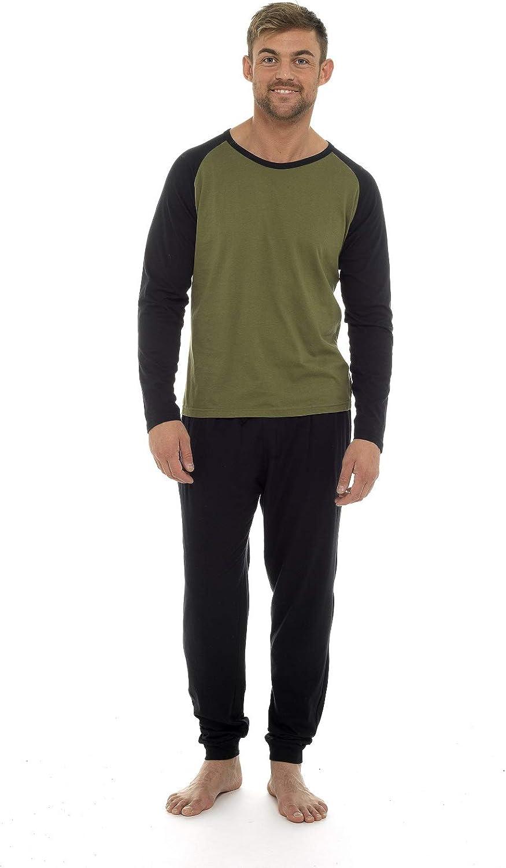 CityComfort Pigiama Uomo Lungo 100/% Cotone Completino Casual per Casa Set Pigiama Due Pezzi da Uomo Maniche Lunghe Pantaloni Lunghi