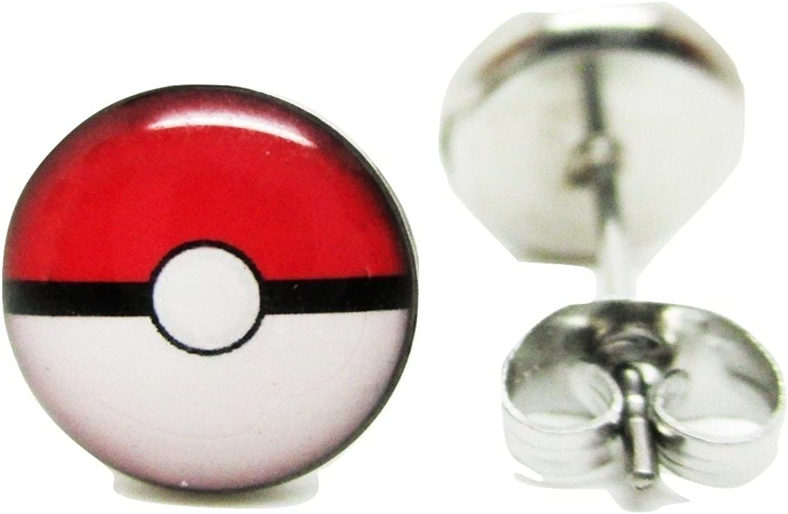 Pokeball Emblem Stud Post Earrings - New - Pair! - 2 Sizes to Choose From