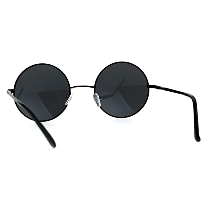 d1e5d05c25c Amazon.com  Reflective Color Mirrored Hippie Groove Round Circle Lens Retro  Sunglasses (All Black
