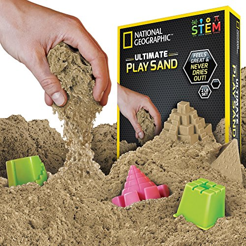 Kids Sand Tray Accessories - NATIONAL GEOGRAPHIC Play Sand with Castle Molds and Tray - 2 LBS (Natural) - A Kinetic Sensory Activity