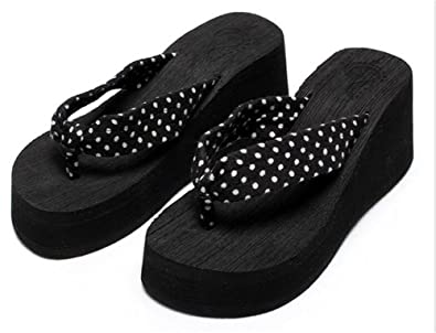 bbbe60692 Image Unavailable. Image not available for. Colour  Good Night Black  Platform Wedge heel Flip Flops Thongs For Women