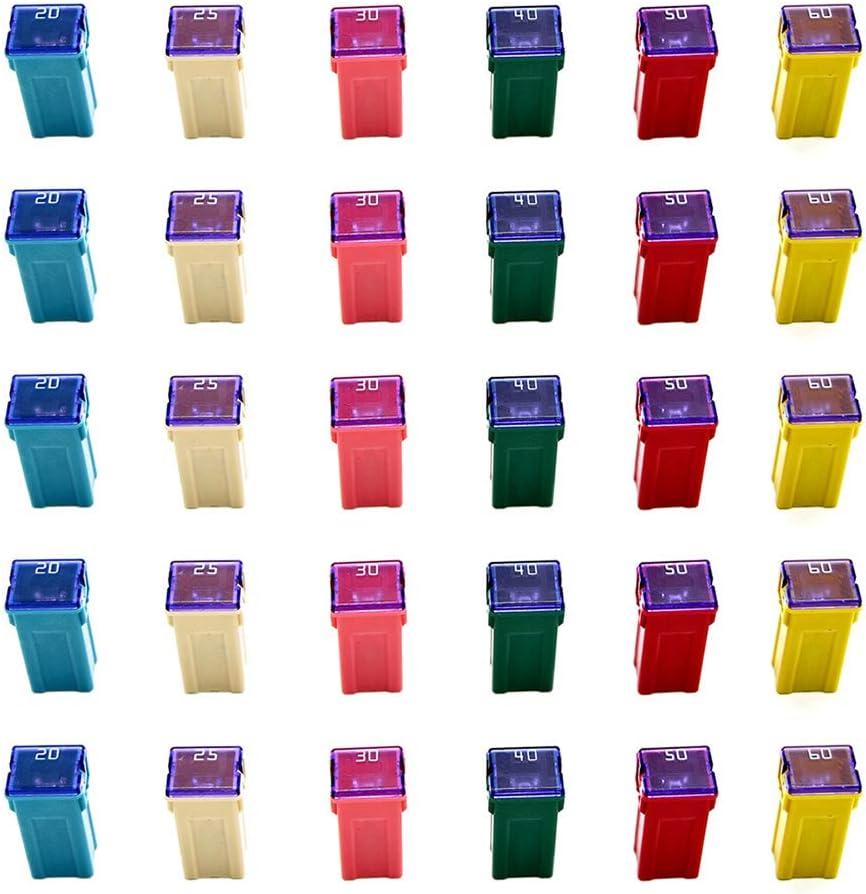 30 Pc Automotive TALL/STANDARD PROFILE JCASE Box Shaped Fuse Kit for pickup Trucks, Cars and SUVs: Automotive