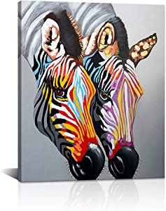 DekHome Colorful Animal Canvas Wall Art Decor Rainbow Zebra Couple Pictures for Living Room Kids Bedroom Nursery Decoration Ready to Hang 20x24inch