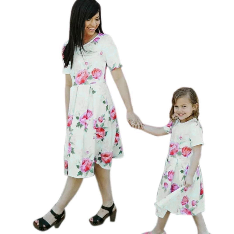 Mama und Kinder Mädchen Kleid,LUCKDE Strandkleid Cocktailkleider ...