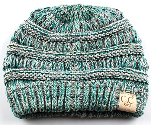 H-3847-816.49 Childrens (NO POM) Beanie - Turquoise (#3)