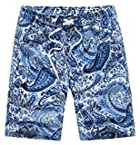 QPNGRP Men's Swim Trunks Multicolored Board Shorts with Mesh Lining (32 1615-Blue)
