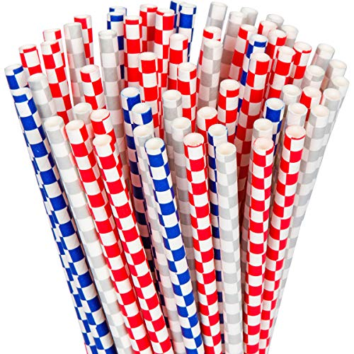 - YouShop Biodegradable Paper Straws 100-Pack - Checkered Red, Blue and Silver Paper Drinking Straws for Party Supplies, Smoothies, Juices, Shakes, Birthday, Picnics, Bridal & Baby Shower Decor