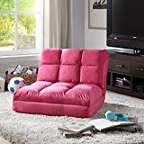 Loungie Micro-Suede 5-Position Adjustable Convertible Flip Chair, Sleeper Dorm Bed Couch Lounger Sofa, Fuchsia