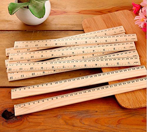 12 Pack Wood Rulers Student Rulers Wooden School Rulers Office Ruler Measuring Ruler, 2 Scale (12 Inch and 30 cm) by Zealer 12 Wood School Ruler