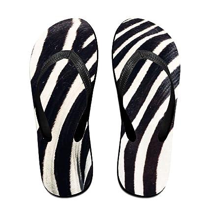 Zebra Pattern Flip Flops Thong Beach Sandals Light Weight Non-slip Outdoor Water Slippers For Women Men