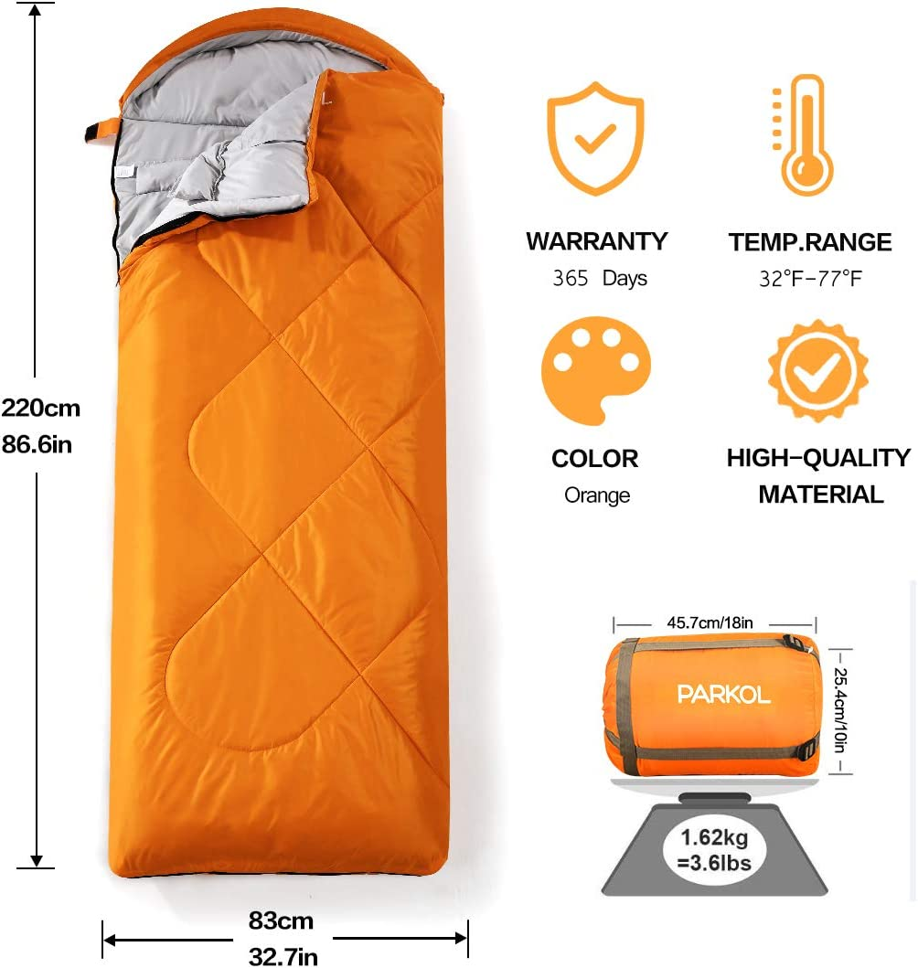 PARKOL Sleeping Bag for Adults Kids – 3 Seasons Warm Cool Weather Waterproof, Lightweight, Portable, Camping Gear Equipment for Outdoor, Hiking, Backpacking