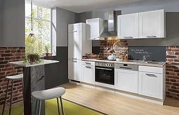 IdealShopping GmbH Landhaus Küchenblock Mit Glaskeramikkochfeld Und  Geschirrspüler Matrix 280 Cm In Lacklaminat Weiss