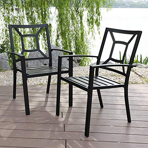 PHI VILLA 2 Piece Black Metal Patio Chairs Square Back Indoor Outdoor Dining Set Wrought Iron Chair with Arm