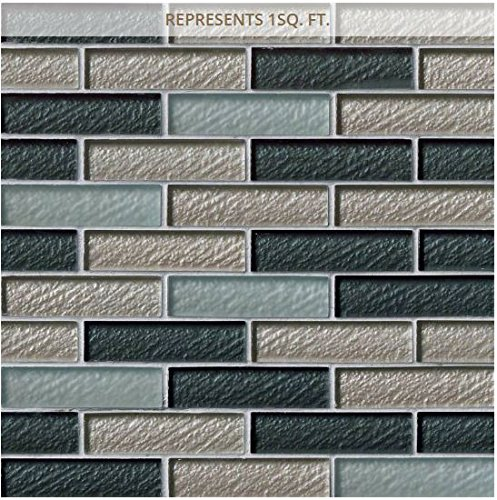 Mesh Mounted Glass Mosaics - Cielo Brick 12 in. x 12 in. x 8 mm Glass Mesh-Mounted Mosaic Wall Tile (10 sq. ft. / case)