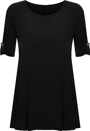 4a7c9dee2b7 Womens Plus Size Scoop Neck Short Sleeve Flared Ladies Long Plain Top Sizes  14 - 28  Amazon.co.uk  Clothing
