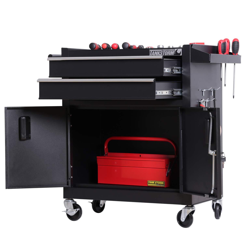 TANKSTORM Tool Chest Heavy Duty Cart Steel Rolling Tool Box with Lockable Doors (TZ12 Black) by TANKSTORM (Image #3)