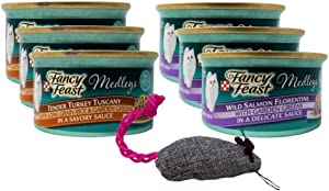 Fancy Feast Medleys Complete Cat Food 2 Flavor Variety 6 Can with Toy Bundle, 3 Each: Tender Turkey Tuscany, Wild Salmon Florentine (3 Ounces)