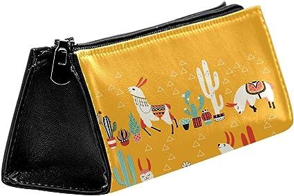 EZIOLY Llama Alpaca Cactus - Estuche para lápices y cosméticos con cremallera: Amazon.es: Oficina y papelería