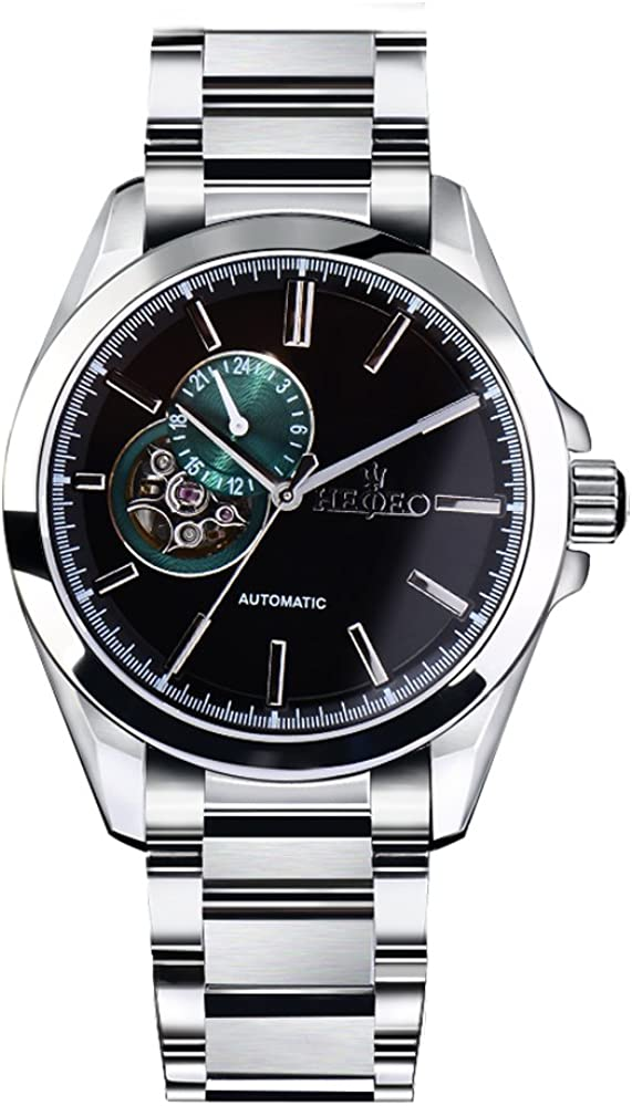 HEOJEO Shining Wristwatch For Men-Sophisticated Sport Analog Display-Black Dial With Small Green Dial-Stainless Steel Movement Watch-Gentlemen Designer Watch HG1209D1A4