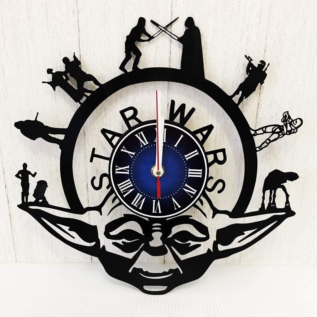 Star Wars Ornament Wood wall clock Vintage Birthday gift For boy Men Husband