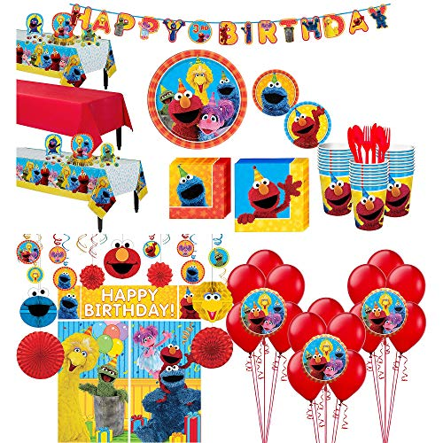 Party City Sesame Street Tableware Ultimate Kit and Supplies for 24 Guests, Includes Table Covers, Photo Props, Balloons -