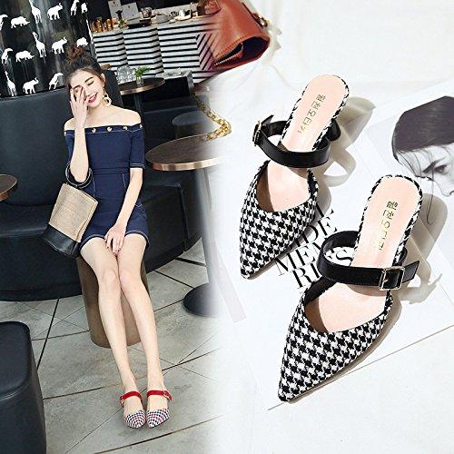 Souligné À Les A black Et Femmes Élégant Portant L'Extérieur Cool Chaussures Baotou WHLShoes Un Avec Femme Treillis Chaussons Épais L'Aise xHYRZ8xawn