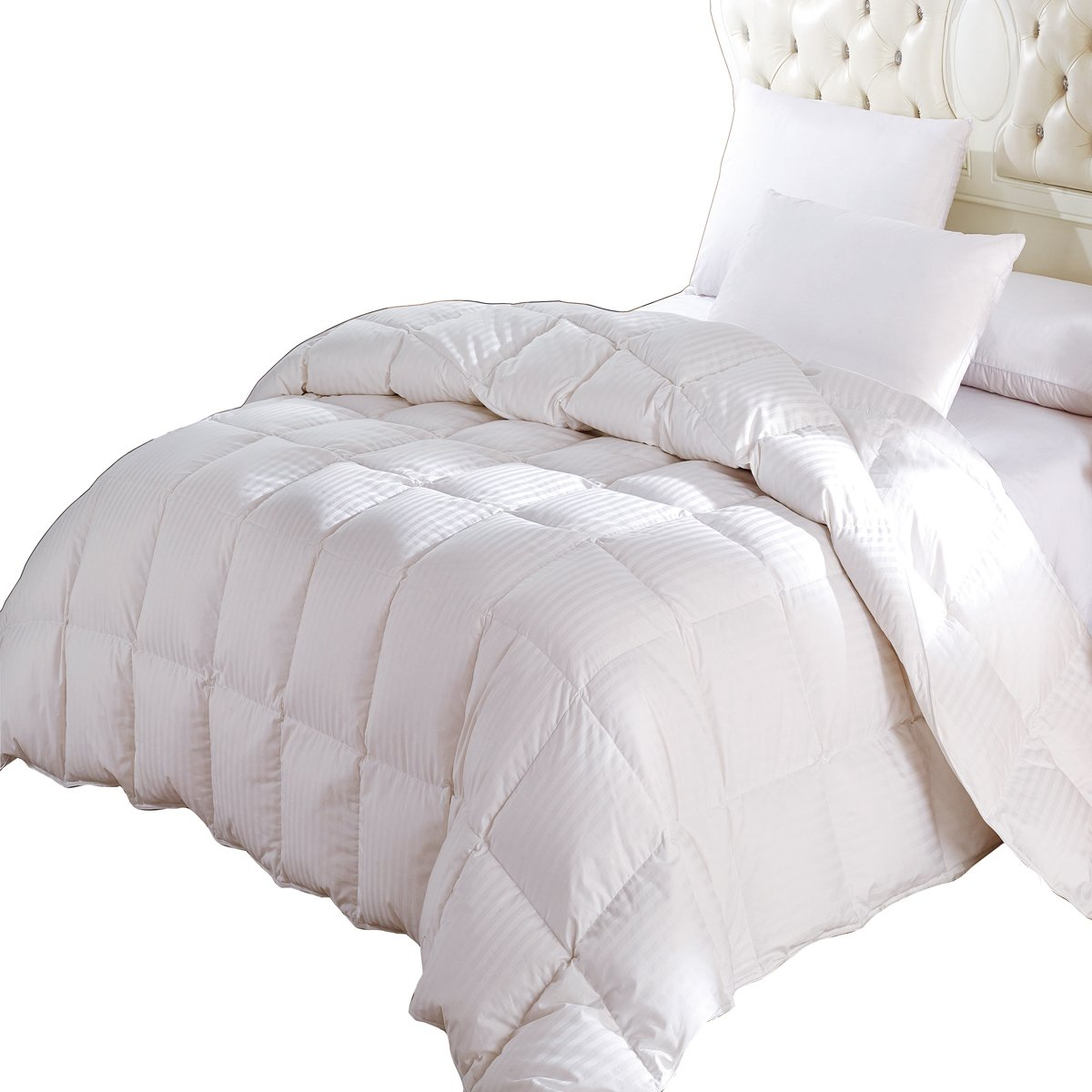 Royal Hotel King/Cal-king Size White Stripes Down-Comforter (Four Seasons) 300TC 100% Combed Cotton Cover