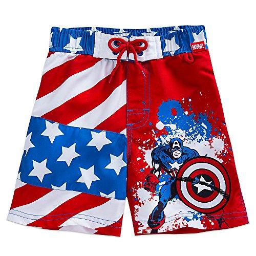 Marvel Captain America Swim Trunks for Boys Size 3 Blue