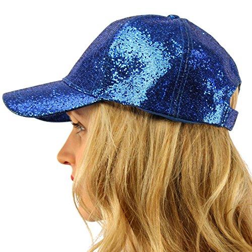 Blue Ball Cap Hat (Everyday Glitter Dance Party Bling Liquid Baseball Sun Visor Ball Cap Hat Blue)